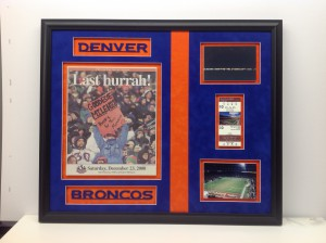 Football Collage framed.  Denver Broncos letters were cut out of suede mats with a laser.