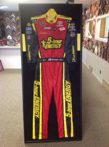 A full NASCAR racing suit was framed and given as a gift.