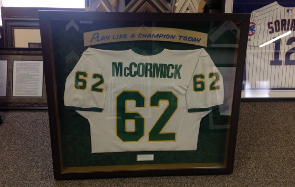 Notre Dame Framed Jersey with Custom Plate