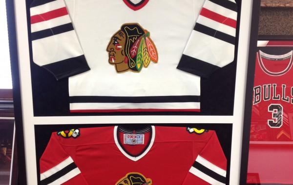 Hockey Jerseys Framed Together in One Frame
