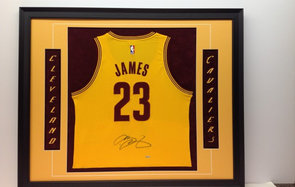 LeBron James Jersey Framed with Laser Cut-Out Letters