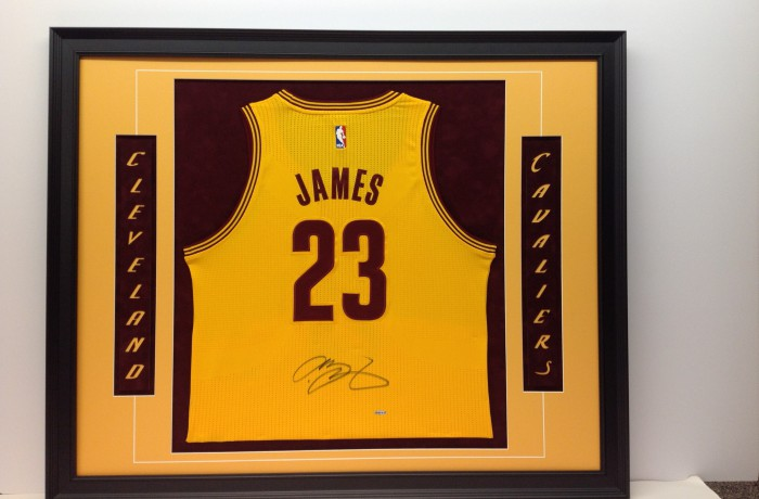 size 40 e488b 98b1b LeBron James Jersey Framed with Laser Cut-Out Letters
