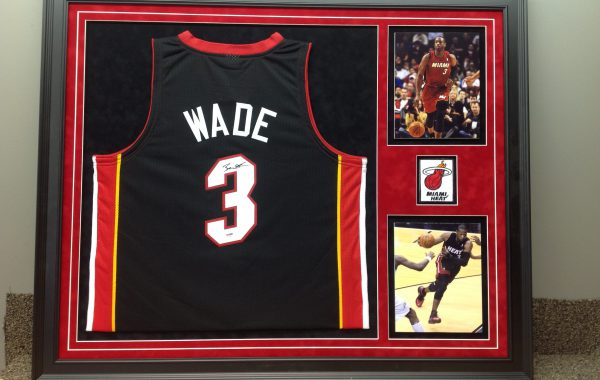 Wade Jersey framed with Photos and Logo