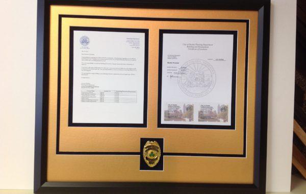 Master Plumber Certificate Framed