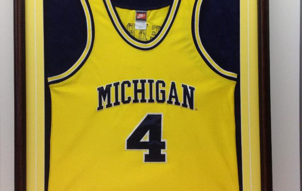 University of Michigan Basketball Jersey with Custom Logo and Engraved Plate