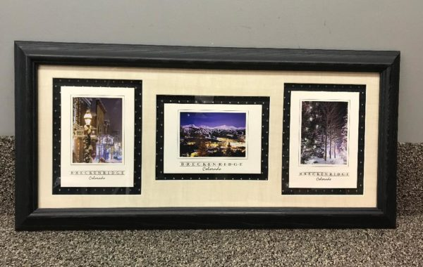 Postcards Framed with Fabric Background