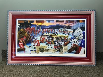 Olympic Hockey Print w/Flag Frame