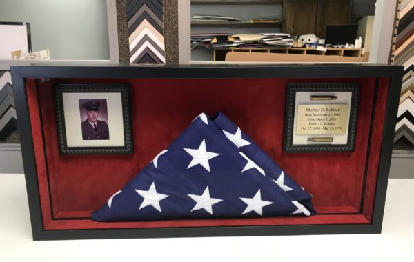 Memorial Flag w/Photo & Engraved Plate